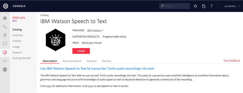 IBM Watson Speech to Text install Add-on