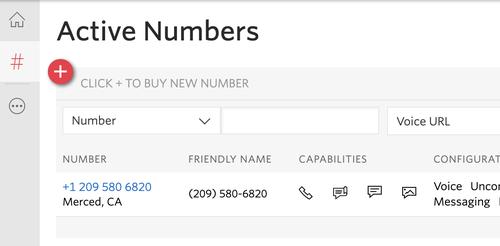 phone numbers dashboard