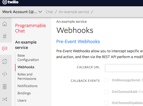 The Webhooks configuration page is accessible from the left nav bar when configuring a Chat service.