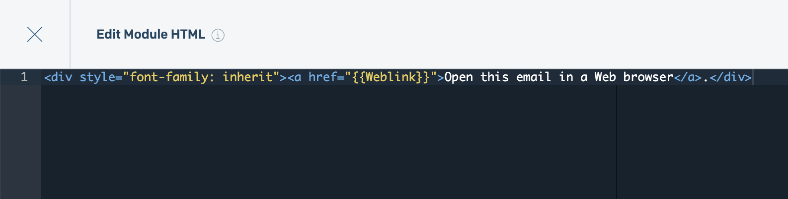 A module's code editor interface with {{Weblink}} assigned to an href attribute