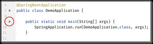 Screenshot of IntelliJ IDEA showing where the button is to run the DemoApplication class