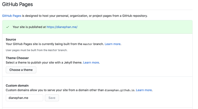 Github Pages domain section