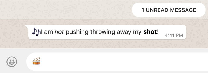 WhatsApp message displaying italics, strike-through, and bolding