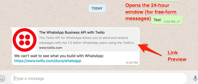 WhatsApp message with link that also displays a preview of the link