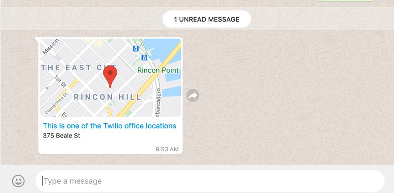 WhatsApp message containing location information, it shows a map for 375 Beale St in San Francisco