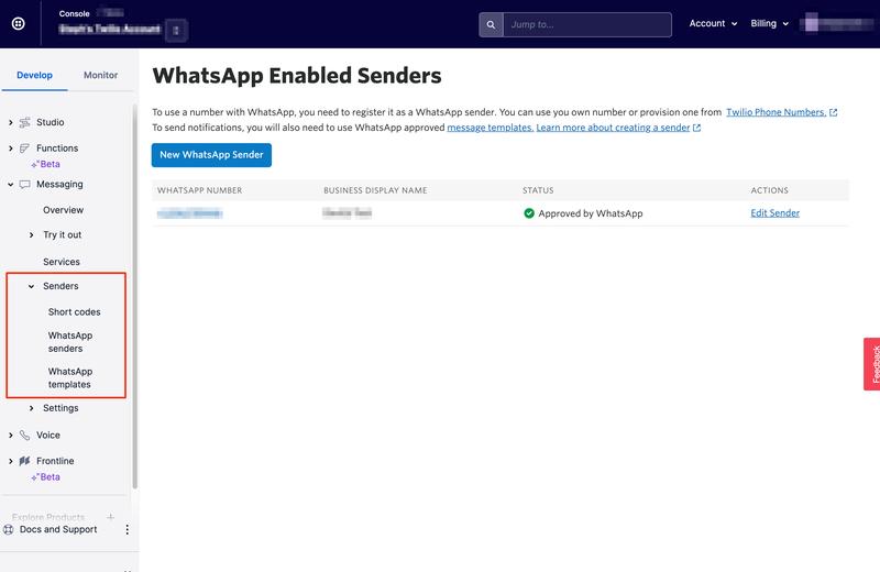 List of WhatsApp Senders