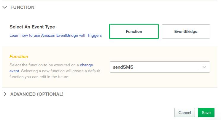 SendSMS trigger selection