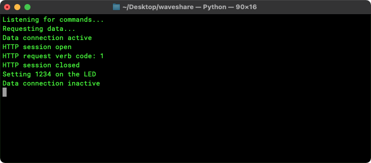 The GET request\'s progress in the terminal