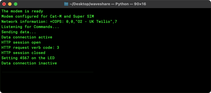 The POST request\'s progress in the terminal