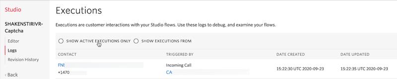Studio log screenshot