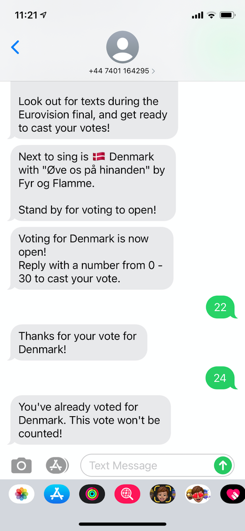 SMS validating that you've already voted