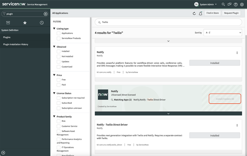 A screenshot of the Plugins section of the ServiceNow dashboard