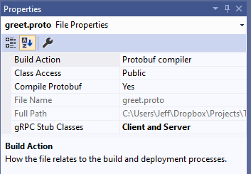 Visual Studio file properties panel