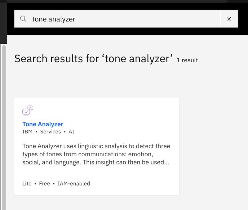 Tone analyzer search results