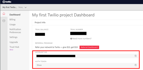 Twilio account credentials