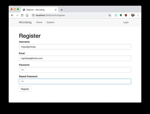User registration screenshot
