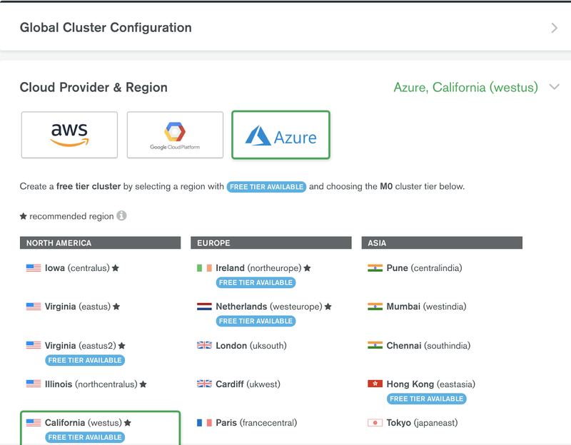 Picking a cloud provider and region in MongoDB
