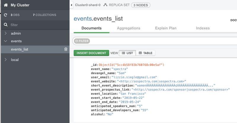 MongoDB Atlas Cluster eventObj