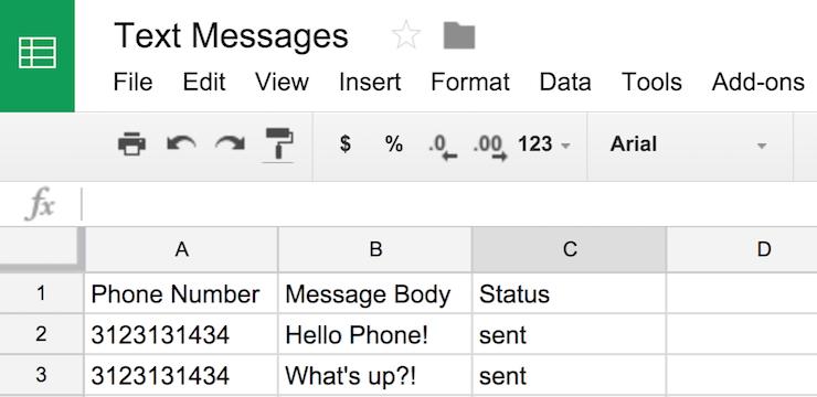 So sendest du eine SMS-Nachricht aus einer Google-Tabelle