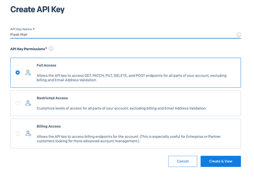 Create API Key screenshot