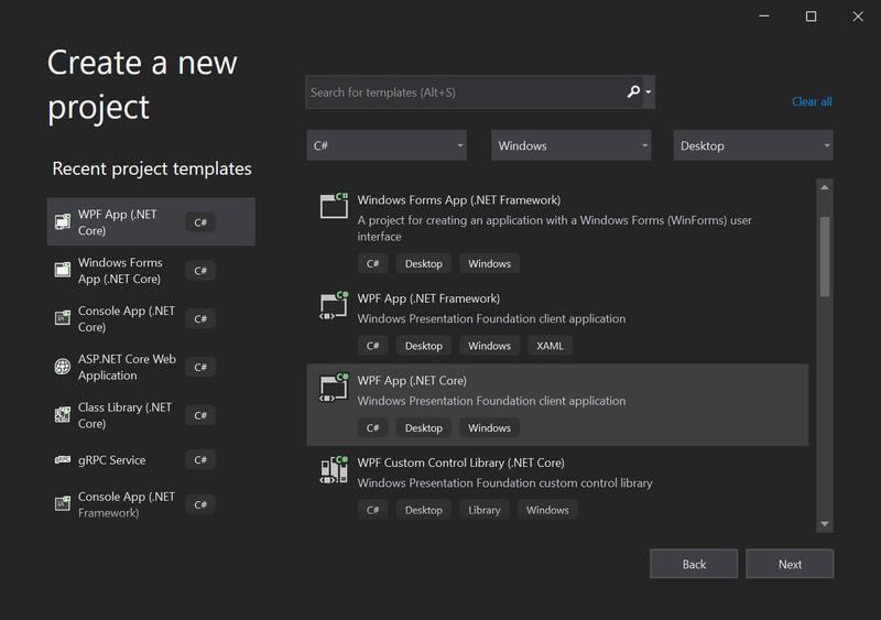 Visual Studio 2019 Create a new project wizard screenshot