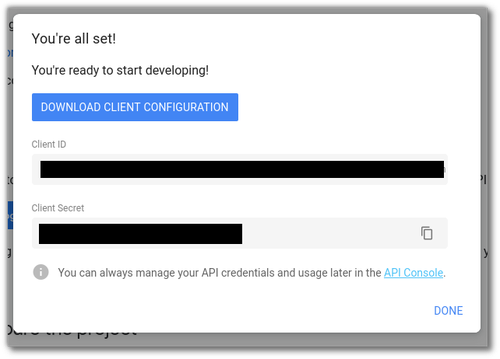 "Screenshot of the Google API Auth dialog with ""Download Client Configuration"" highlighted"