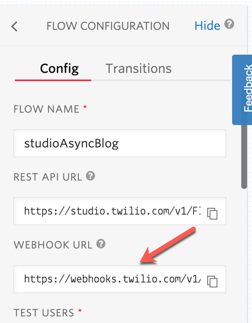 Studio webhook URL location on the canvas