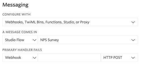 """Screenshot of Twilio phone number configuration. Under """"Messaging"""", """"Webhooks, TwiML Bins, Functions, Studio, or """"Proxy"""" is selected. When a message comes in, """"Studio Flow"""" and """"NPS Survey"""" are selected."""