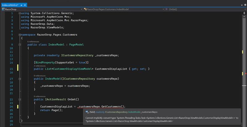 Visual Studio 2019 screenshot showing code error