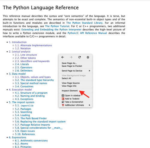Python reference documentation table of contents
