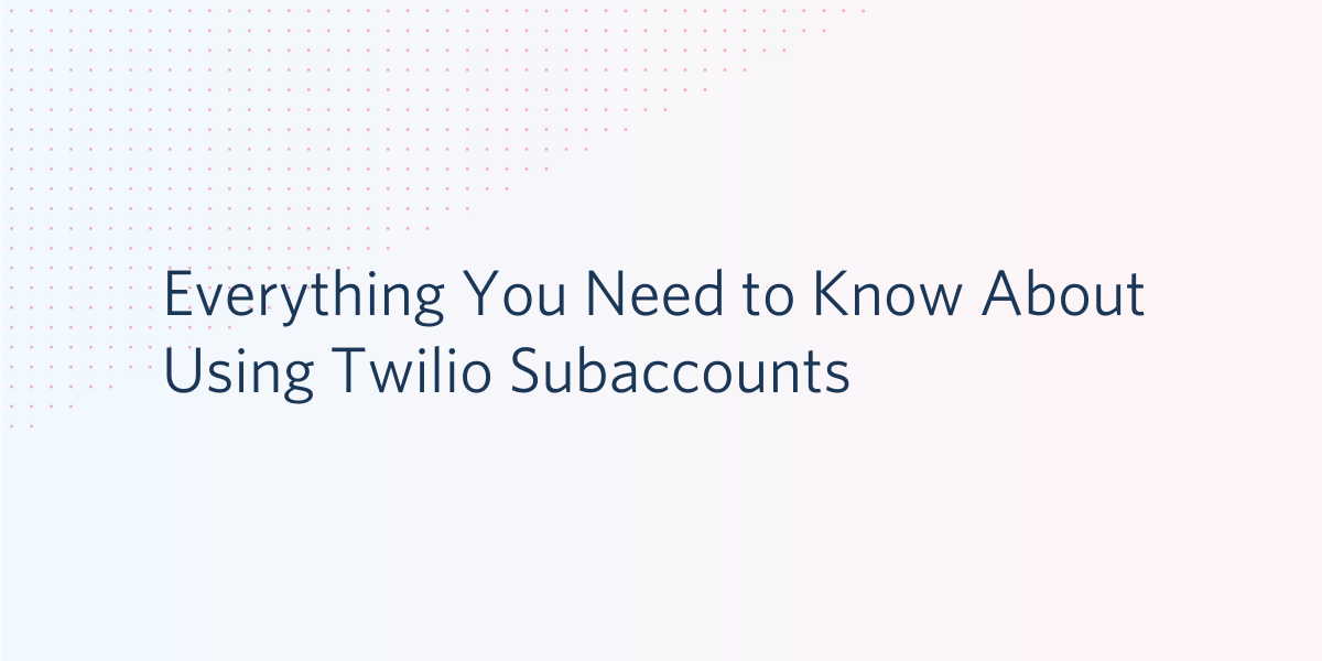 Subaccounts allow you to separate your usage, numbers, and settings while sharing a balance with your main account. Learn about subaccounts on Twilio. - Twilio