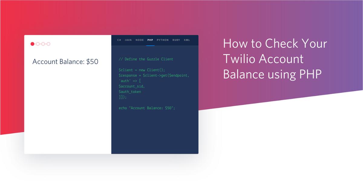 How to Check Your Twilio Account Balance using PHP - Twilio