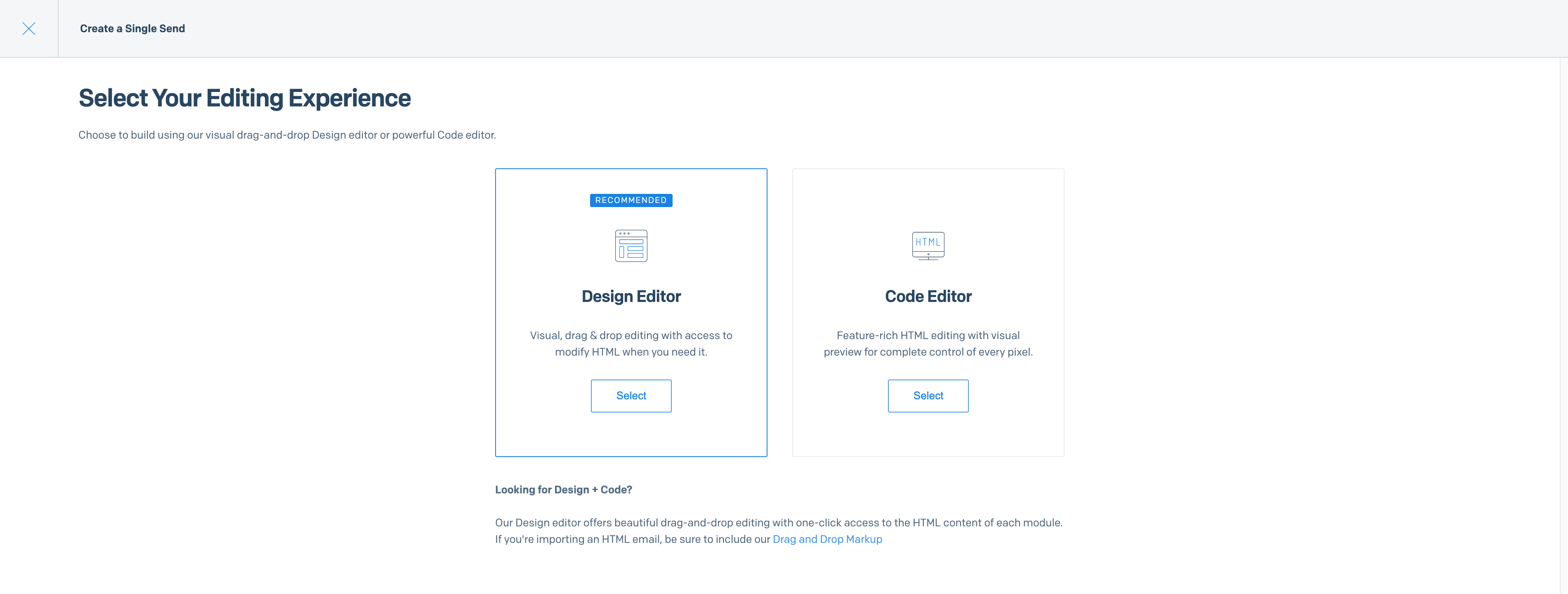A window displaying two large boxes as editor options, the Design Editor or the Code Editor