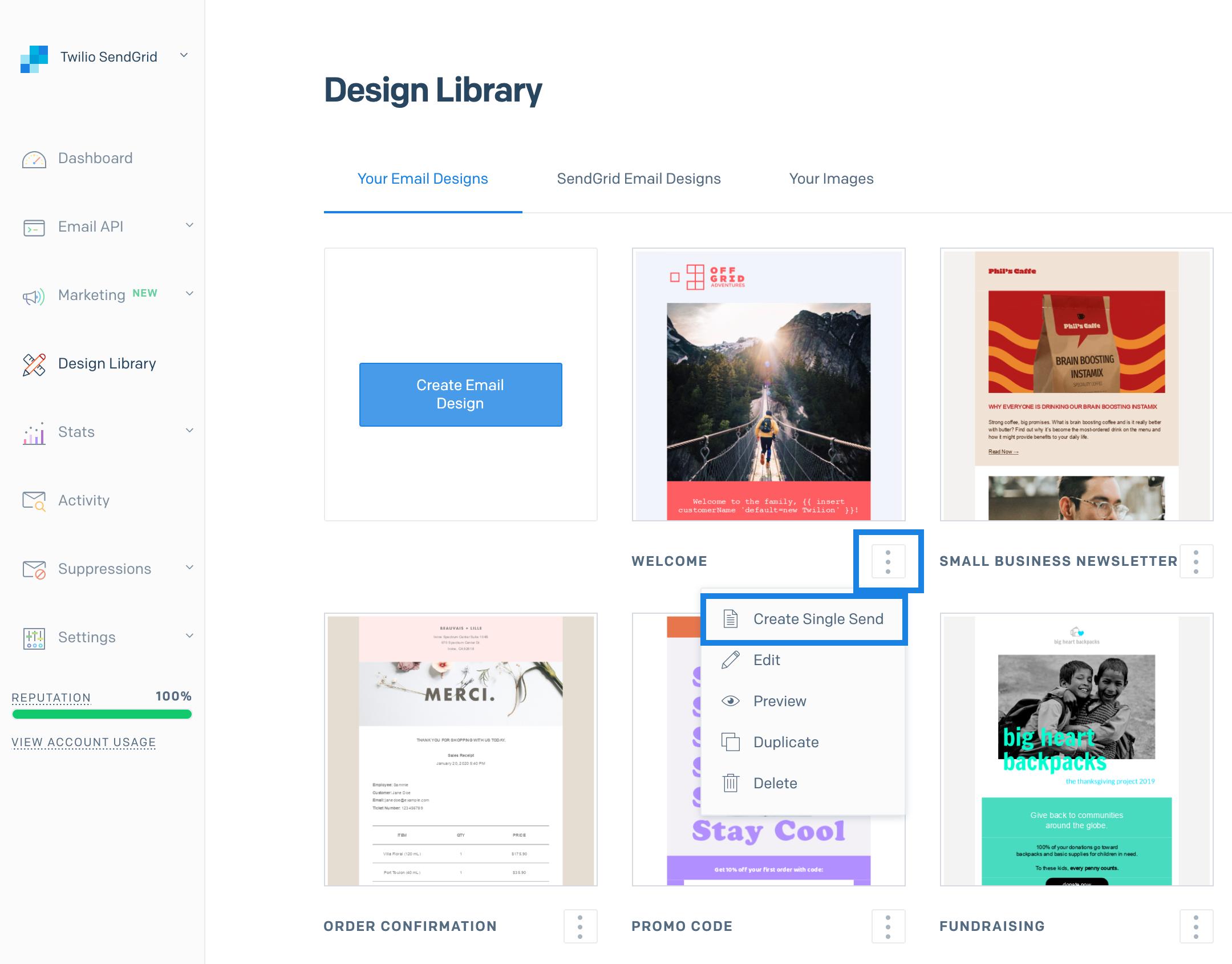 The Create a Single Send menu item button below a design