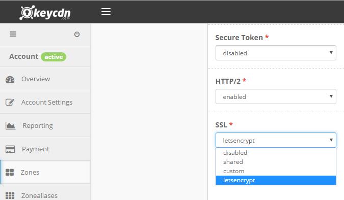 KeyCDN Enable SSL