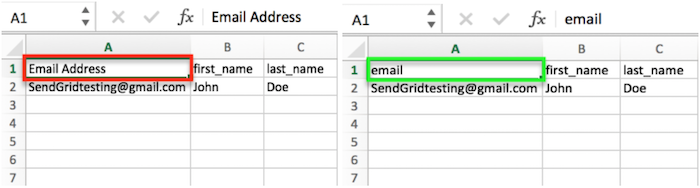 Move email header to column A